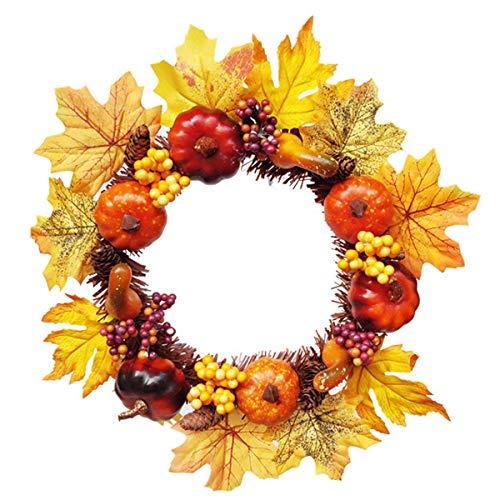 Harvest Wreath for Front Door And Thanksgiving Christmas Decorations auspilybiber 17.72 Pollici Autumn Door Wreath Fall Wreath