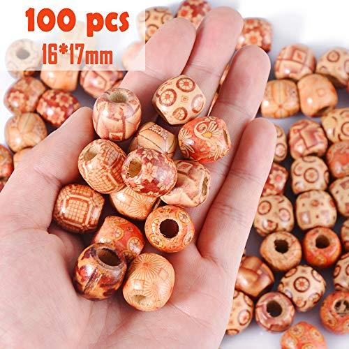 100Pcs x 17mm super Große Holzperlen Haarperlen mit Perlen Einfädler, DIY Basteln Dreadlocks Dreads Holz Perlen Kugeln 7mm Loch Rund von SOSMAR
