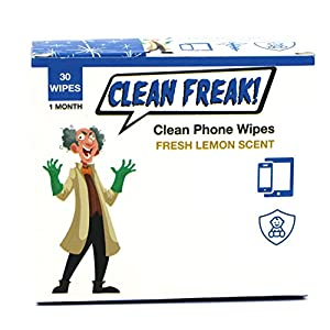 CLEAN FREAK Phone Wipes for Smart Phones, Electronics and Toys – Pack of 30 – Low Wetness Formula for Sensitive Devices…