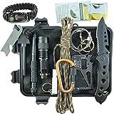 Kit Sopravvivenza Militare Professionale di Terza Generazione Emergenza Montagna Trekking Escursionismo Outdoor 11 in 1 Torcia Bracciale Paracord Tattico Multiuso Acciarino Coltello Campeggio Scout