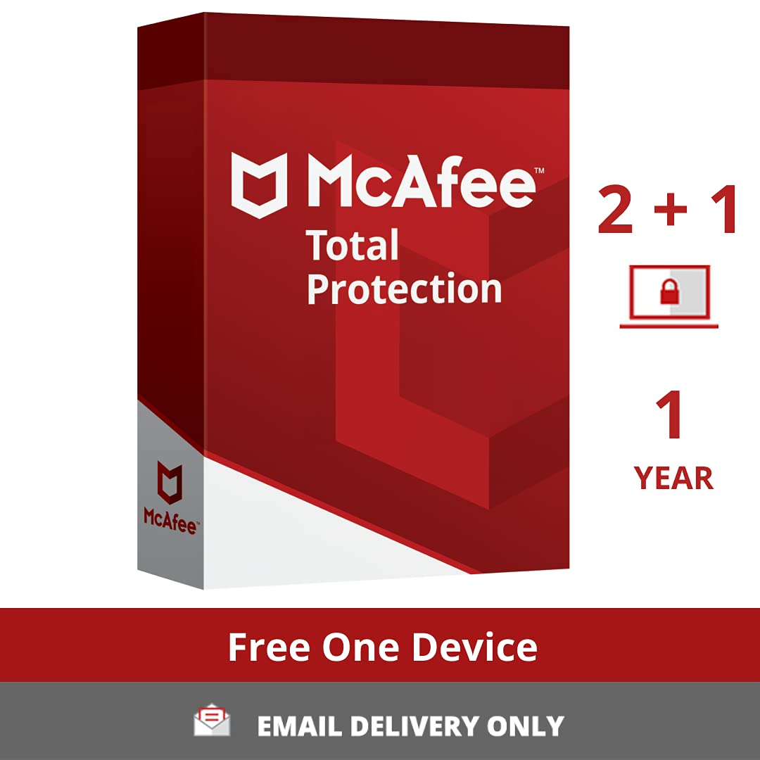 McAfee Total Protection (Windows / Mac / Android / iOS) 2 Device + 1 device Free, 1 Year (Single Key) (Email Delivery - No CD) 1