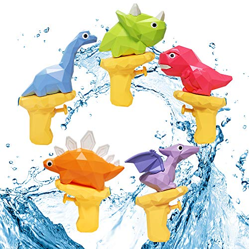 5 Pcs Water Squirt Guns for Kids, Small Dinosaur Water Pistols, Water Blaster Soaker Summer Swimming Pool Beach Party Favor Toys for Boys & Girls Toddlers Age2 3 4 5 6
