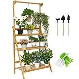 SHALLWE Bamboo 3-Tier Hanging Plant Stand, Folding Indoor-Outdoor Planter Ladder Shelf Organizer, Adjustable Height Hanger Rod, Flower Pot Display Storage Holder Rack for Window Garden Patio Balcony