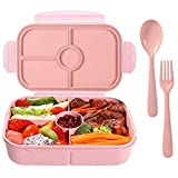 Bento Box for Adults Lunch Containers for Kids 4 Compartment Lunch Box Food Containers Leak Proof (Light Pink)