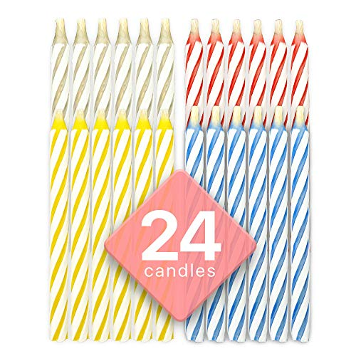 Bundaloo Magic Relighting Birthday Candles - Fun Prank Kit for Party Celebration - Cake Tricks and Decorations - Colors: Pink, White, Blue, Yellow - 24 Pieces