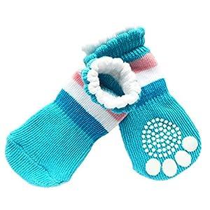 JJ Store Lot de 4Pet Chaussettes pour chien anti-dérapant chaussettes pour l'intérieur Porter antidérapante Patte Protection Bleu