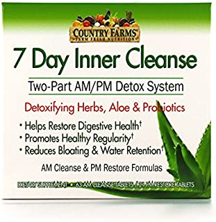 Country Farms 7 Day Inner Cleanse, AM/PM Detox System, Detoxifying Herbs, Aloe & Probiotics