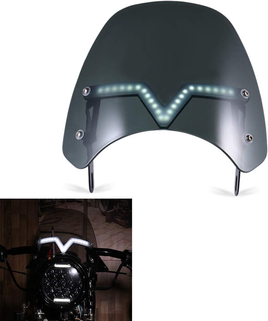 Black Universal Motorcycle Windshield Motorcycle Windscreen With White Daytime Running Light Yellow Turn Signal