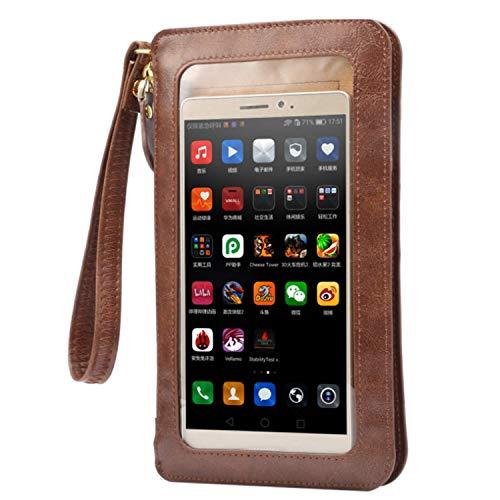 Damen-Handtasche mit Touchscreen, Mini-Handy-Schultertasche, Handtasche mit 2 Riemen für iPhone 12, 12 Pro, 12 Pro Max, Samsung Galaxy A72, A52 5G, A32, M62, M12, F62, S21 Ultra (braun)