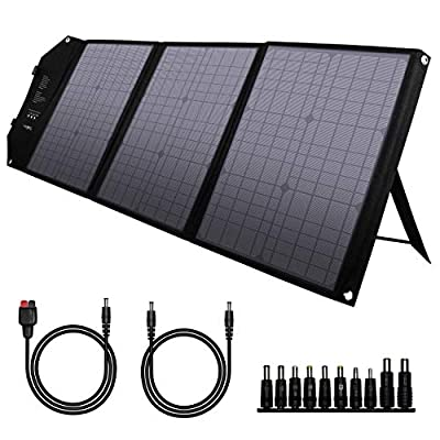 Foldable Solar Panel Charger 60W with 18V DC Output (11 Connectors) for 100W~350W Portable Power Stations Jackery/Rockpals/Flashfish/Enginstar, Portable Solar Generator for Outdoor Camping Van RV Trip