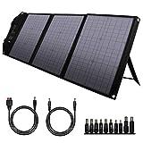 powkey Panel Solar Portátil 60W con USB C, Doble USB QC3.0, Salida de DC, Panel Solar Monocristalino Impermeable y Plegable, para la Mayoría de Generador Solares, Camping, Móvil y Portátiles