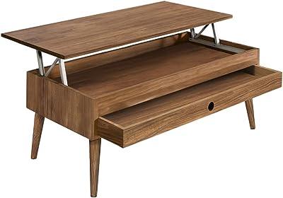Hogar24 Table basse relevable avec tiroir coulissant Design vintage Bois massif naturel 100 x 50 x 47 cm