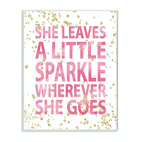Stupell Industries She Leaves a Little Sparke Wall Plaque, 10 x 15, Design By Artist Susan Newberry Designs