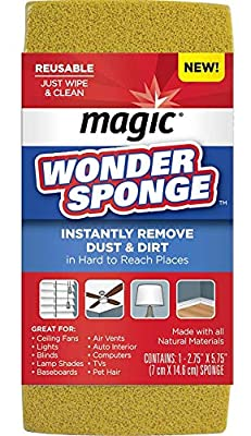 Magic Dust Wonder Sponge (2 Pack) Blinds Fans Lampshades Baseboards Pet Hair TV's Computer Electronics Auto Remover