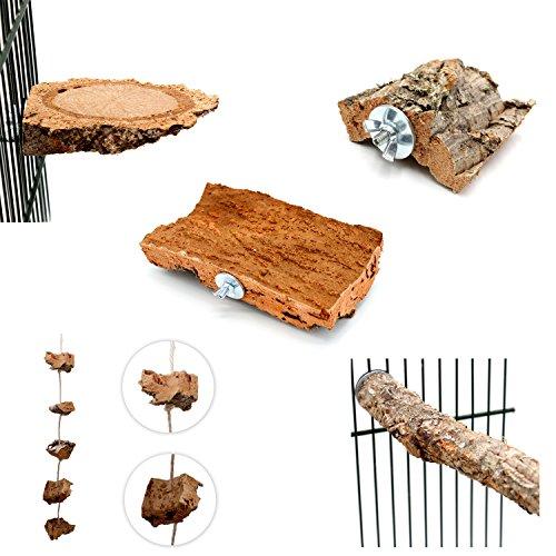 Vogelgaleria 5- teiliges Kork Set | Tolles Vogelspielzeug für Wellensittich, Nymphensittich & Co. | Korkbrett 20x10cm, Kork-Knabberseil, Korkpickstein, Korksitzbrettchen, Korksitzstange | Original