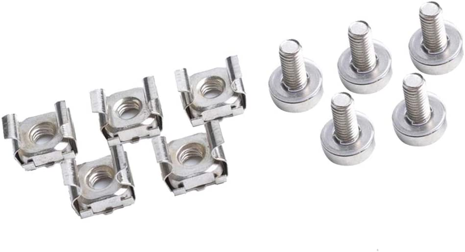 Gazechimp Cage Nuts and Screws, 5Set Square Hole Hardware Cage Nuts & Mounting Screws Washers for Server Rack and Cabinet (M5 x 16mm)