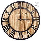 clásico Grande de metal números romanos silencioso reloj de pared de cuarzo 16 pulgadas - Elegante Mute Negro Vintage Relojes de Pared Grandes decorativo para el hogar/ la cocina/ la oficina