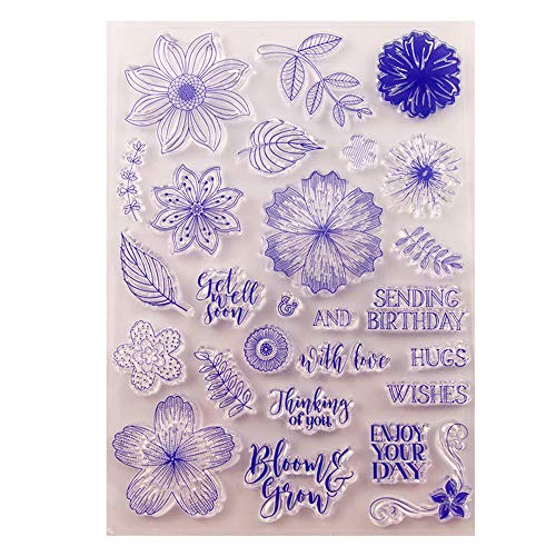 1 Sheet Flower Leaves Thinking of You Clear Rubber Stamps for Card Making and Scrapbooking Enjoy Wishes Birthday Christmas Silicone Stamps (T1597)