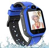 PTHTECHUS Bambini Smartwatch Localizzatore GPS 4G con Chat Video, Supporto SIM Card WiFi,SOS Help Camera Pedometro Compatibile con iPhone/Android Smartphone Bambini Regali(Blu)