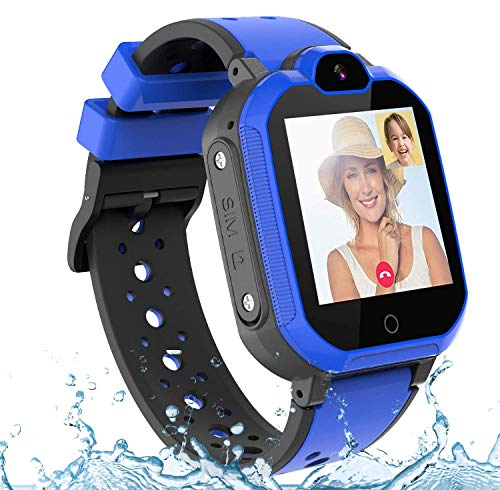 Bambini Smartwatch Localizzatore GPS 4G con Chat Video, Supporto SIM Card WiFi,SOS Help Camera Pedometro Compatibile con iPhone/Android Smartphone bambini Regali(blu)