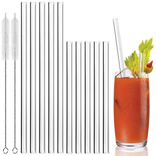 MELLIEX Cannucce Vetro - 10 Pezzi Ecologico cannucce riutilizzabili Vetro per Frullati, Cocktail e Bevande Calde - 5 Lungo, 5 Corto e 2 Spazzola per la Pulizia