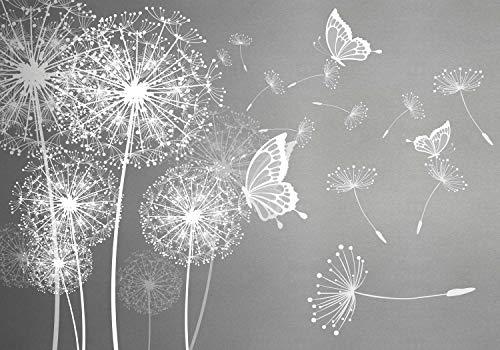 wandmotiv24 Fototapete Pusteblumen mit Schmetterlingen, XL 350 x 245 cm - 7 Teile, Fototapeten, Wandbild, Motivtapeten, Vlies-Tapeten, Abstrakt Grau M6119