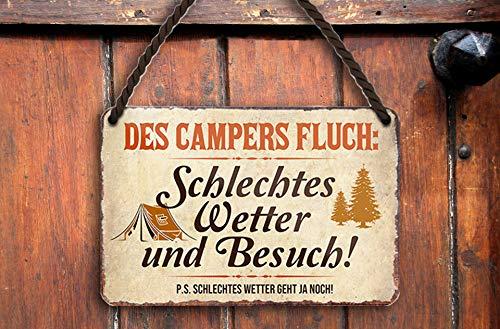 """schilderkreis24 – Blechschild Lustiger Spruch """"des Campers Fluch"""" Deko Metallschild Geschenkidee Retro Camper Wohnwagen Zelt Wohnmobil Geschenk Geburtstag Weihnachten Camping Fans 18x12 cm"""