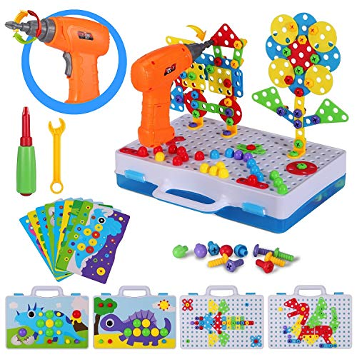 224 Piece Trendy Bits Drill Puzzle, STEM Building Toys for Kids Ages 4-8, Creative Mosaic Design Puzzle for Boys and Girls Gift