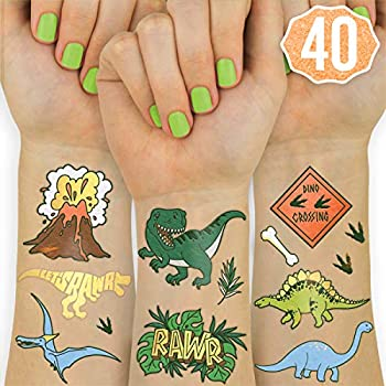 xo Fetti Dinosaur Temporary Tattoos for Kids - 40 styles   Birthday Party Supplies Dinosaur Party Favors T-rex Decorations