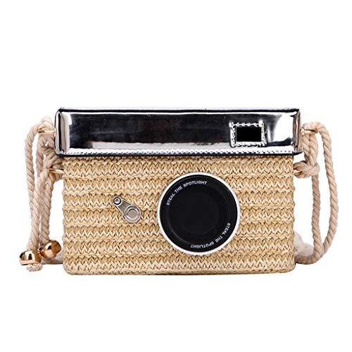 Yuwegr Damen Strandtasche Kamera Crossbody Taschen Stroh Weben Umhängetaschen Messenger Bag Mode Schultertaschen(Beige)