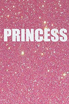 Princess Notebook  Glittery Pink - 110 Pages In Lines 6 x 9 Inches