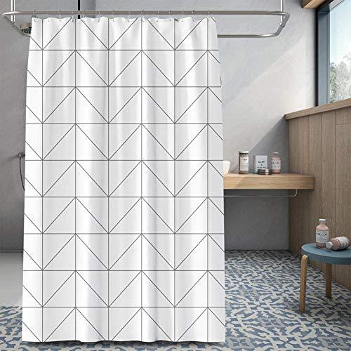 Vlejoy Geometrischer Duschvorhang Für Den Haushalt Weißes Reisgitter Wasserdicht Und Schimmelresistent 3D-Bedrucktes Badtrennwandtuch - 150 * 200 cm