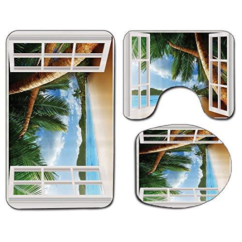 3Pcs Alfombra de baño antideslizante Juego de tapa de asiento de inodoro Conjuntos de tema Gazebo personalizados Playa de palmera Playa con ventanas de madera e imágenes panorámicas de arte Azul Verde