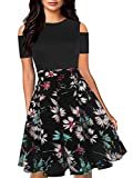 oxiuly Women's Chic Off Shoulder Floral Flare Patchwork Evening Wedding Casual Pockets Swing Midi Dress OX266 (XL, BK-NBWF)