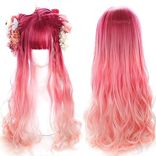 Peluca sintética larga azul rosa verde peluca de hadas flequillo estilo dulce Navidad -P4 / 24