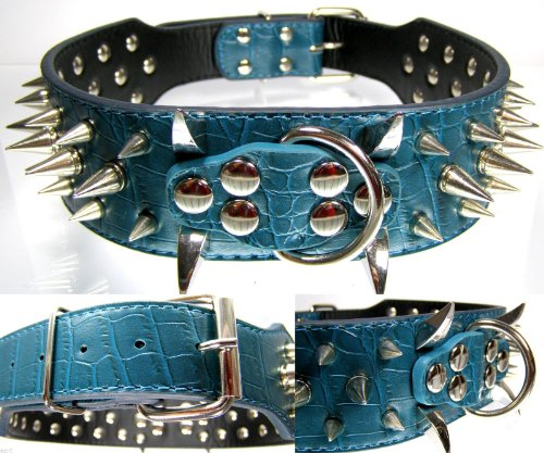 Power klinknagel halsband met zilveren klinknagels - Groen 5 cm breed - 59cm lang - Top Edel Spikes hondenhalsband
