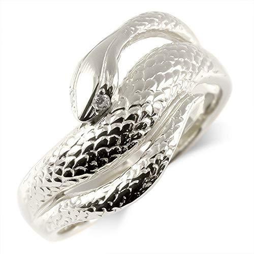[アトラス] Atrus リング メンズ sv925 スターリングシルバー ダイヤモンド 蛇 指輪 幅広 ピンキーリング 24号