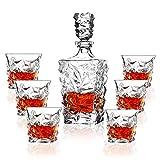 MYYINGELE Juego de Decantadores de Whisky, Decantador Escocés de Cristal Sin Plomo de 750 Ml con 6 Vasos de 300 Ml, Artículos de Rock para Bar Casa y Fiestas