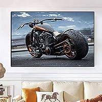 キャンバスウォールアートプリントクールなオートバイの騎士の夢重い機関車の絵画ポスター画像リビングルームの寝室の装飾40x60cmフレームレス