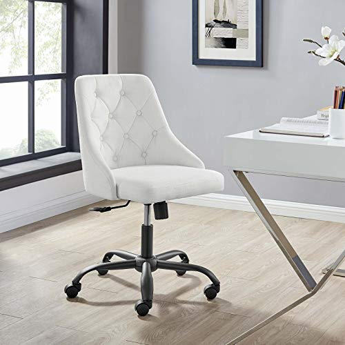 Modway Distinct Tufted Swivel Upholstered Office Chair, Black White