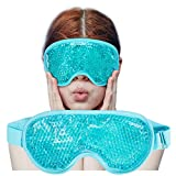 Cooling Ice Gel Eye Mask-Reusable Eye Masks, Sleeping Mask with Plush Backing for Headache, Puffiness, Allergies, Migraine, Stress Relief (Blue)