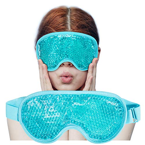Cooling Ice Gel Eye Mask-Reusable Eye Masks, Sleeping Mask with Plush Backing for Headache, Puffiness, Migraine, Stress Relief (Blue)