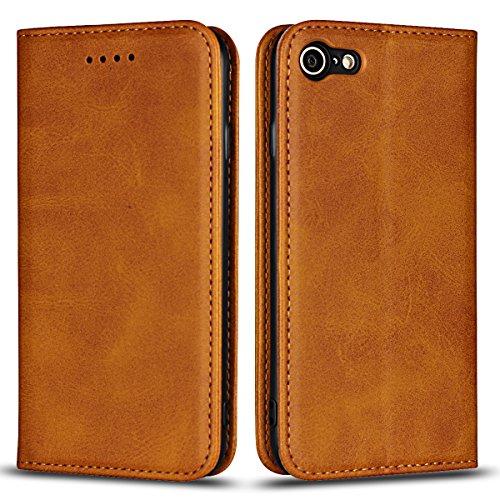 Copmob Cover iPhone 7/8/SE 2020/SE 2,Premium Flip Portafoglio Custodia in Pelle,[4 Slot][Supporto Stand][Chiusura Magnetica],Caso Libro Custodia Cover per iPhone 7/8/SE 2020/SE 2 - Cachi