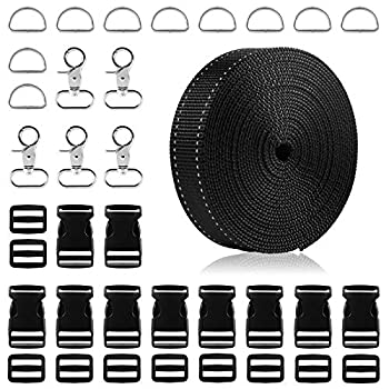 1 Inch Nylon Webbing Strap 5 Yards Black Reflective Polypropylene Webbing Strap with 45 Pcs 1 inch Side Release Plastic Buckles Including Metal D Rings and Swivel Snaps Hooks