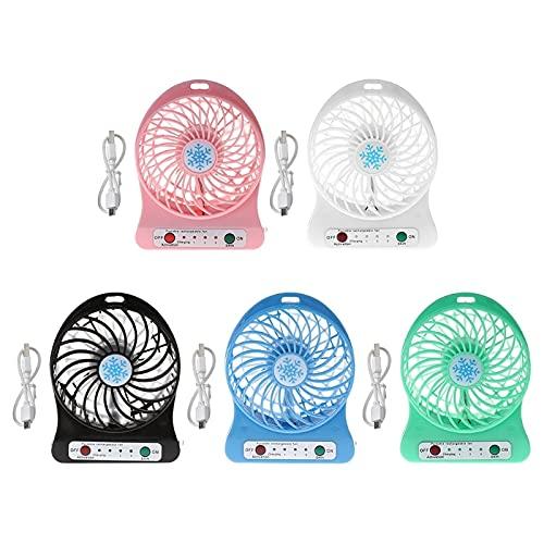 YASEking Ventilador portátil de 5 W para exteriores con luz LED, ventilador de refrigeración USB sin batería 18650 (color de la W)
