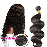 55cm Extensiones de Cortina de Pelo Natural Humano [Body Wave] 100% Remy Brazilian Human Hair Bundles [1 Bundle,#1B Negro Natural]