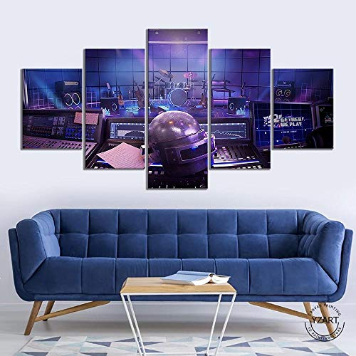 BAOZU Canvas Picture 5 Piece Wall Art Painting Pubg Level 3 Helmets On Canvas The Picture Decor for...