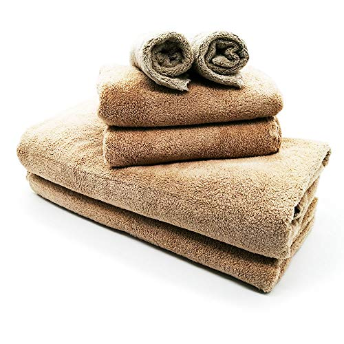 Nockchawon 6 Pack Bath Towel Set,Microfiber Coral Velvet Towel,2 Bath Towels, 2 Hand Towels and 2 Washcloths,Super Soft,High Absorption and Durable Quick-Drying Towel Set for Daily Use Such (Brown)