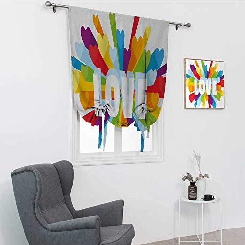 GugeABC Pride Fenster-Sonnenblenden für Zuhause, Liebes-Valentins-Thema Burst mit niedlichen, kleinen bunten Herzen, LGBT Gay Lesben Stab Taschenschirm, mehrfarbig, 88,9 x 162,6 cm