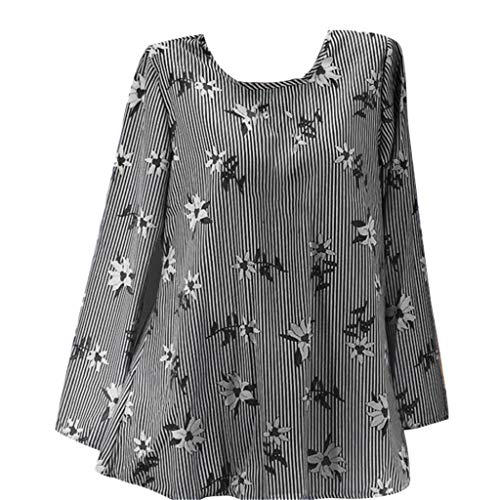 Lowest Prices! Lovor Women's Plus Size Shirts Flora Print Long Sleeve Crewneck Casual Loose Tops Blo...